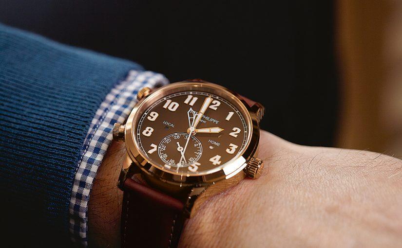 Patek Philippe Calatrava Pilot Travel Time Replica Watch in rose gold
